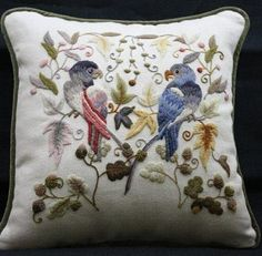 Lovely crewel pillow - great birdies!