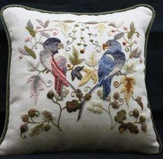 Lovely crewel pillow - great birdies!