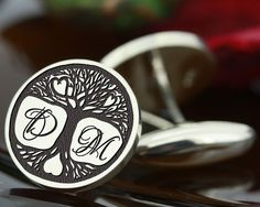 "My Personal Jewellery  -  The Design Station Ltd - TREE OF LIFE Personalised Monogram Cufflinks Silver, <span class=""ProductDetailsPriceIncTax"">£102.00 (inc VAT 20% (UK"