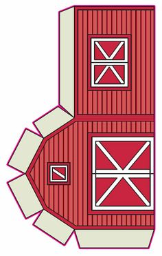 Printable red barn paper toy