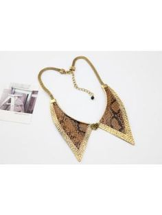 9b91ab4ed823 Metal Fake Snakeskin Pattern Collar Short Necklace Short Necklace