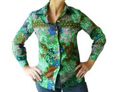Floral blouse shirt 70's vintage brown green blue by MayDayRiots