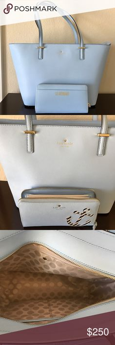 Kate Spade small harmony tote and lacey wallet New without tag. They are sky blue. kate spade Bags Shoulder Bags