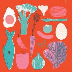 Some food illos Gravure Illustration, Collage Illustration, Food Illustrations, Graphic Design Illustration, Illustration Styles, Art Party, Botanical Art, Museum, Screen Printing