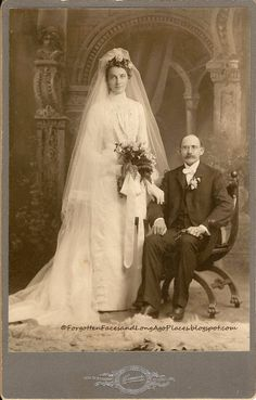 "St. Louis couple ""Young, Beautiful Bride, Older, Rich Groom"" ca 1900  Forgotten Faces and Long Ago Places  http://forgottenfacesandlongagoplaces.blogspot.com/2012/08/wedding-wednesday-young-beautiful-bride.html"