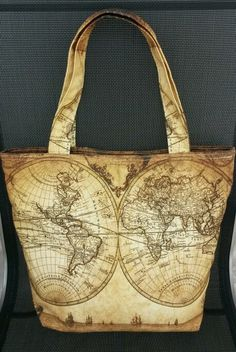 Vintage world map canvas totebag. See www.flirty-poodle.com for more details. World Map Canvas, Poodle, Vintage World Maps, Burlap, Reusable Tote Bags, Detail, Hessian Fabric, Poodles, Jute