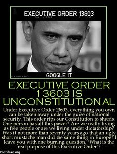 Executive Order 1360315 Un Constitutional--Did you know in the Affordable Care Act Americans lose their U.S. Constitutional Rights and The Bill Of Rights?