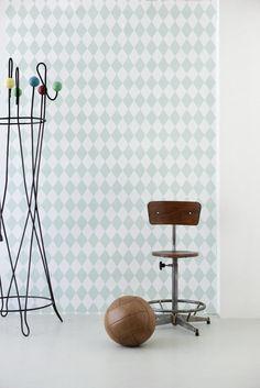Ferm Living Shop — Harlequin (Dusty Green) Wallpaper