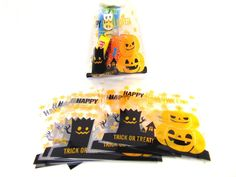 Halloween Gifts Bags Pumpkin DIY Candy Cookies Party Cello Packaging Bags