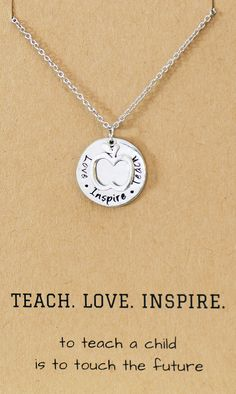 Elise Gifts for Teachers - Teach, Love, Inspire Necklace and Greeting Card,  - Quan Jewelry - 1