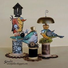Love these Tim Holtz Crazy Birds ... steampunk style! Found on sandydiller.blogspot.com Simple Pleasures Rubber Stamps and Scrapbooking.