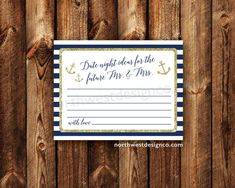 DIGITAL Nautical Date Night Ideas For The Future Mr. and Mrs. Gold Navy Anchor Bridal Shower Printable Digital Files Wedding Shower Decor
