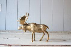 Vintage Brass Moose // Solid Brass by genrestoration on Etsy, $75.00