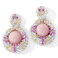 Rarities: Fine Jewelry with Carol Brodie 5.79ct Sapphire and Pink Opal Sterling Silver Earrings   $354.90