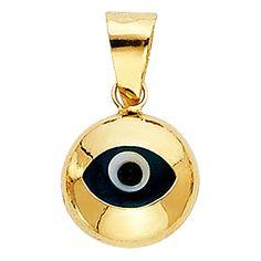 The World Jewelry Center 14k Yellow Gold Evil Eye Charm Pendant
