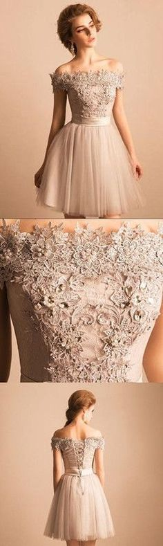 Off The Shoulder Homecoming Dress Lace Cheap Homecoming Dress by DestinyDress, $125.00 USD