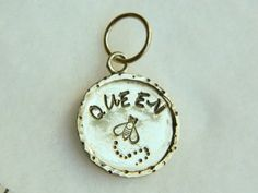 Queen bee hand stamped sterling silver necklace pendant; OOAK | Lundela - Jewelry on ArtFire