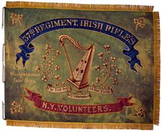 """37th Regiment, NY Volunteer Infantry Regimental Colors.  Reportedly received by the 37th New York Volunteer Infantry in February 1863 from the city of New York, and carried at Chancellorsville, Virginia, May 1-3, 1863, this green, silk regimental color features traditional Irish iconography painted on both sides. The flag also features painted battle honors commemorating the regiment's 1862 campaigns and the unit's distinction as """"The first Regt. of Irish Volunteers in the Field."""""""