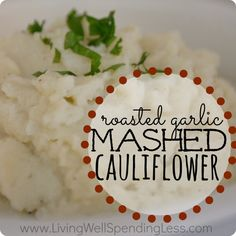 Need a healthy, low calorie alternative to mashed potoatoes?  This skinny roasted garlic mashed cauliflower recipe gives you all of the flav...