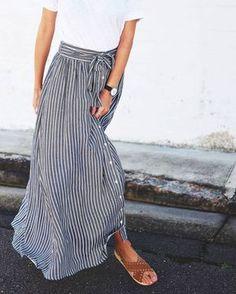 Skirt jupe longue été rayée rayures casual minimaliste