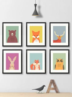 Welcome to Modern Kids Gallery!  This set of 6 prints are cute, fun and colourful. They would be perfect for your woodland nursery decor!  These prints are printed on quality archival matt art paper with a high performance printer, which provides a sharp and long lasting vision.  Available sizes are 5x7, 8x10, 8x10mounted (5x7 aperture), 11x14, 11x14mounted (8x10 aperture)  If you are looking for individual pictures: https://www.etsy.com/uk/shop/ModernKidsGallery?sec...