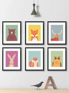 Woodland nursery prints art for kids woodland animal art