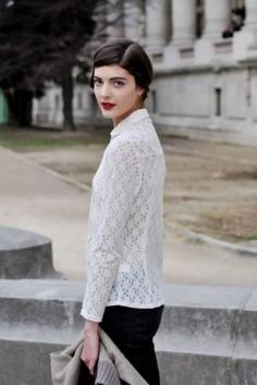 timeless irish fisherman's sweater and a red lip- killer combination