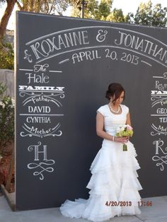 shabby chic wedding backdrops | Cindy painted this fun backdrop with chalkboard paint. It's adorable.