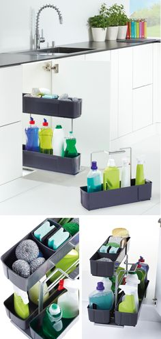 Storage solutions that make cleaning a breeze by corralling all supplies in tidy, grab-and-go baskets. Get started! Woodworking Industry, Under Sink, Furniture Hardware, Kitchen Essentials, Spring Cleaning, Kitchen Accessories, Home Organization, Kitchen Storage, Storage Solutions