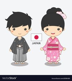 Boy and girl in japanese costume vector image on VectorStock Japanese Icon, Japanese Cartoon, Japan For Kids, Japanese Birthday, Comedy Tragedy Masks, Peace Poster, Geisha, Boy And Girl Cartoon, Japan Logo