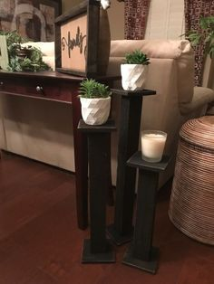Floor Size Candle Stick Holders I hate to waste, and I don't like messes, so I decided to clean my w Floor Candle Holders Tall, Diy Candle Holders, Diy Candles, Candlestick Holders, Candlesticks, Do It Yourself Furniture, Working Area, Table Legs, Entryway Tables