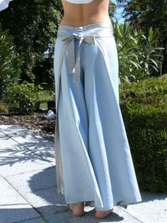 I love these wrap pants, the tutorial is easy too. The Easy Breezy Wrap Pants http://laupre.wordpress.com/2008/06/29/easy-breezy-wrap-pants-tutorial/