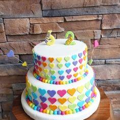 Birthday Doğum günü Rainbow Kids Gökkuşağı Girls Çocuk Cake Pasta Geburtstag Herz Kalp Heart Torte Torta
