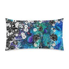 "Peacock Flower Scroll Stripe Print Pillow Rectangle Pillow Case 20""x36""(Twin Sides)"