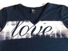 Nike Dri-Fit Women's X-Large LOVE Athletic Tee T-Shirt XL Navy Blue #Nike #ShirtsTops