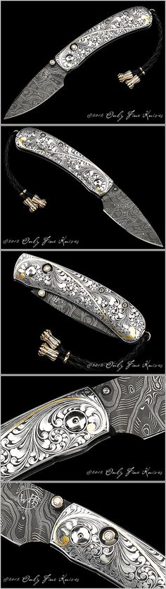 William Henry B09 Kestral B09 Custom 050611 Over All Length 5 1/2 in Blade Length 2 3/8 in Blade Material Hornet's Nest Damascus by Mike Norris. Frame Material 416 Stainless Hand Engraved with Inlaid 24K Gold by Sam Welch. Scale Material 416 Stainless Hand Engraved with Inlaid 24K Gold by Sam Welch. Thumb / Button Diamonds
