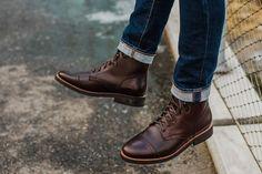 Men's Brown Captain Lace-Up Boot - Thursday Boot Company Mens Lace Up Boots, Jeans And Boots, Burberry Men, Gucci Men, Men's Shoes, Shoe Boots, Red Wing Boots, Allen Edmonds, Goodyear Welt