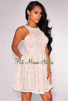 abe21b4eea White Lace Nude Illusion Flared Dress. Hot Miami Styles ...