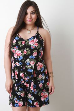 Floral Print V-Neck Pleated Romper
