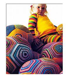 Vintage Crocheted Floor Cushion Giant Pillow Ball Granny Square Crochet Pattern PDF. $3.50, via Etsy.