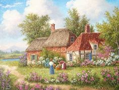 Tending the Flower Garden Dennis Lewan Storybook Cottage, Cottage Art, Painted Cottage, Cartoon House, Art Thomas, Natural Scenery, Garden Photos, House Painting, Landscape Art