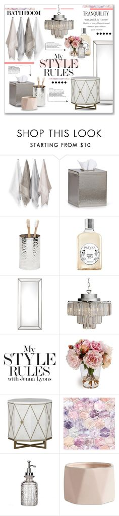 """""""Luxe bathroom!"""" by lilymillyrose ❤ liked on Polyvore featuring interior, interiors, interior design, home, home decor, interior decorating, Sparrow & Wren, Frontgate, Pigeon & Poodle and Patyka"""