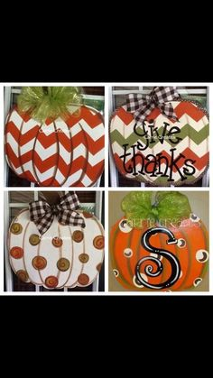 Pumpkins ~ wood, paint, ribbon. Could cut it out of corrugated tin, too. No link, just pic