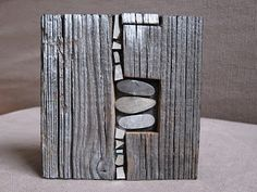Stone mosaic in wood Driftwood Sculpture, Driftwood Art, Wood Mosaic, Mosaic Art, Wood Stone, Stone Art, Wooden Art, Wood Wall Art, Wall Sculptures