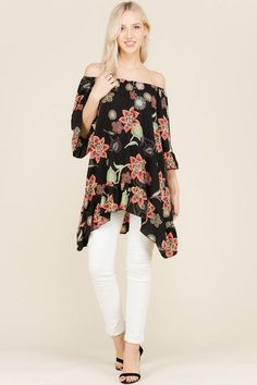 Floral Print Off Shoulder Tunic Top Floral Tops, Floral Prints, Bell Sleeve Top, Tunic Tops, Elegant, Shoulder, Blouse, How To Wear, Collection
