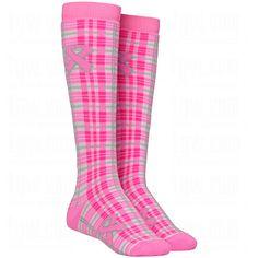 f254c63fd94 Red Lion Womens Breast Cancer Awareness Plaid Socks  RedLion  Awareness   Pink  Soccer