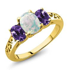 14K Yellow Gold Oval Cabochon White Simulated Opal  Purple Amethyst 3Stone Ring 175 cttw Available in size 5 6 7 8 9 *** Be sure to check out this awesome product.Note:It is affiliate link to Amazon.