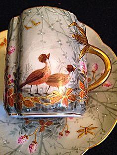 Stunning Limoges Handpainted Demitasse Gold Guild Bone China Tea Cup and Saucer | eBay