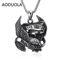 Antique silver plated Stainless steel Necklace Eagle with letter Pendants Punk style Long Chain Necklaces For men's Jewelry Gift