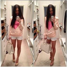 Heart sweater with white shorts